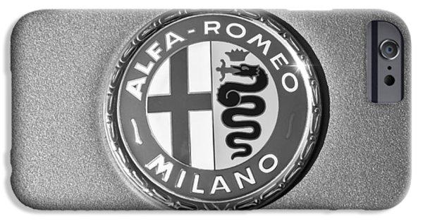 Alfa Romeo Gtv iPhone Cases - 1973 Alfa Romeo GTV Emblem -0226bw55 iPhone Case by Jill Reger