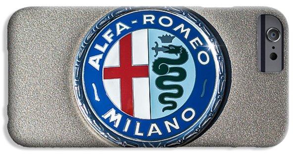 Alfa Romeo Gtv iPhone Cases - 1973 Alfa Romeo GTV Emblem -0226c55 iPhone Case by Jill Reger