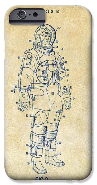 Science Fiction Digital Art iPhone Cases - 1973 Astronaut Space Suit Patent Artwork - Vintage iPhone Case by Nikki Marie Smith