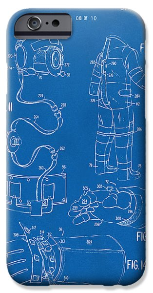 1973 Space Suit Elements Patent Artwork - Blueprint iPhone Case by Nikki Marie Smith