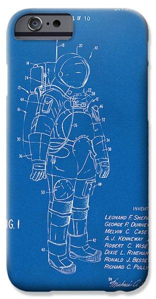 1973 Space Suit Patent Inventors Artwork - Blueprint iPhone Case by Nikki Marie Smith