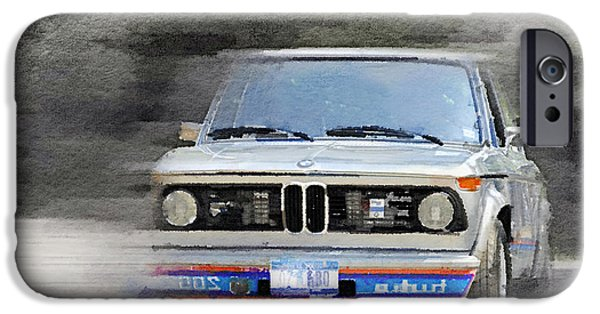 Racing iPhone Cases - 1974 BMW 2002 Turbo Watercolor iPhone Case by Naxart Studio