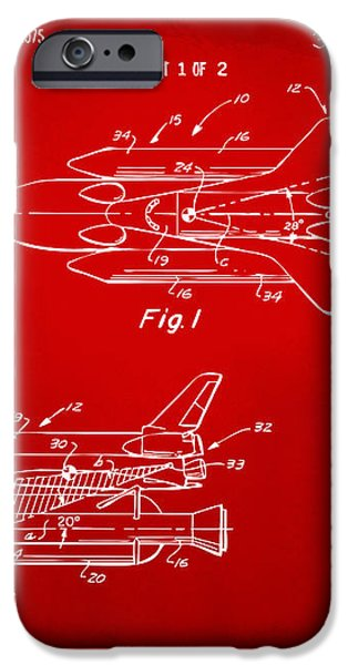 1975 Space Shuttle Patent - Red iPhone Case by Nikki Marie Smith