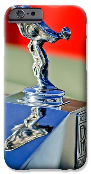 Historic Vehicle iPhone Cases - 1976 Rolls Royce Silver Shadow Hood Ornament iPhone Case by Jill Reger