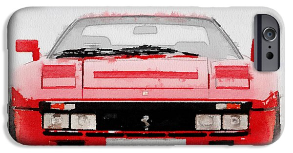 Old Cars iPhone Cases - 1980 Ferrari 288 GTO Front Watercolor iPhone Case by Naxart Studio