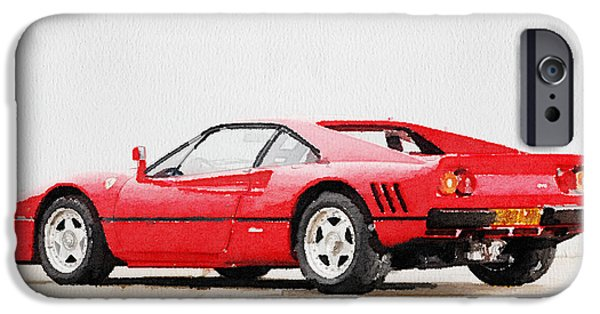 Old Cars iPhone Cases - 1980 Ferrari 288 GTO Watercolor iPhone Case by Naxart Studio