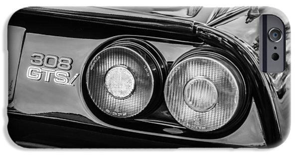 1980 iPhone Cases - 1980 Ferrari 308 GTSi Taillight Emblem -0027bw iPhone Case by Jill Reger
