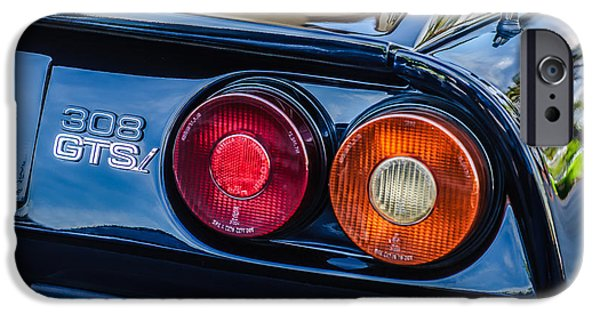 1980 iPhone Cases - 1980 Ferrari 308 GTSi Taillight Emblem -0027c iPhone Case by Jill Reger