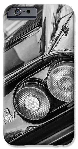 1980 iPhone Cases - 1980 Ferrari 308 GTSi Taillight Emblem -0036bw iPhone Case by Jill Reger