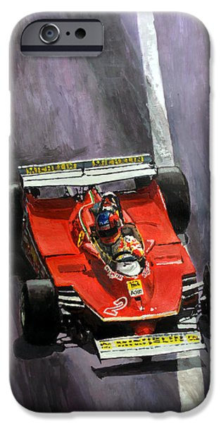 1980 iPhone Cases - 1980 Monaco GP Gilles Villeneuve Ferrari 312 T5  iPhone Case by Yuriy Shevchuk