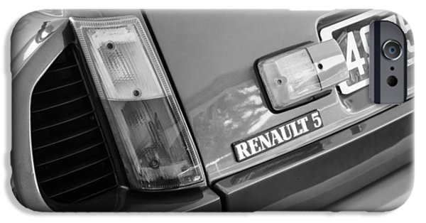 1980 iPhone Cases - 1980 Renault Series 1 R5 Turbo Taillight Emblem -0082bw iPhone Case by Jill Reger