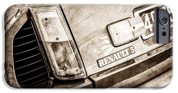 1980 iPhone Cases - 1980 Renault Series 1 R5 Turbo Taillight Emblem -0082s iPhone Case by Jill Reger