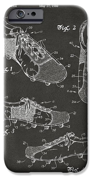Soccer iPhone Cases - 1980 Soccer Shoes Patent Artwork - Gray iPhone Case by Nikki Marie Smith