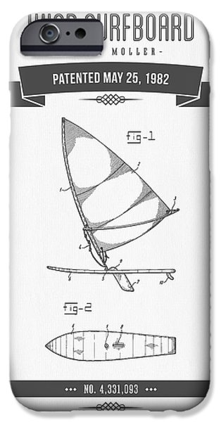 Surfboards iPhone Cases - 1982 Wind Surfboard Patent Drawing - Retro Gray iPhone Case by Aged Pixel