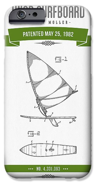 Surfboards iPhone Cases - 1982 Wind Surfboard Patent Drawing - Retro Green iPhone Case by Aged Pixel
