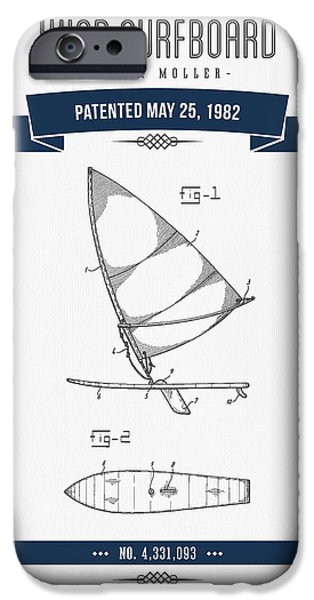Surfboards iPhone Cases - 1982 Wind Surfboard Patent Drawing - Retro Navy Blue iPhone Case by Aged Pixel