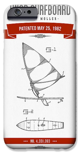 Surfboards iPhone Cases - 1982 Wind Surfboard Patent Drawing - Retro Red iPhone Case by Aged Pixel