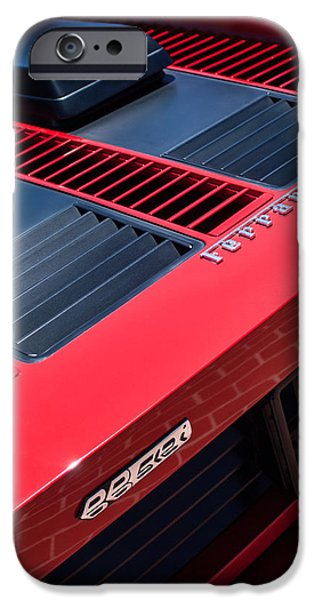 Automotive iPhone Cases - 1984 Ferrari 512 Bbi By Pininfarina Rear Emblems -0822C iPhone Case by Jill Reger