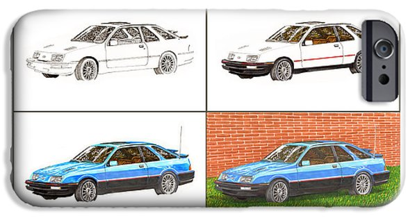 First Introduction iPhone Cases - 1985 Merkur XR4TI Drawing Sequence iPhone Case by Jack Pumphrey