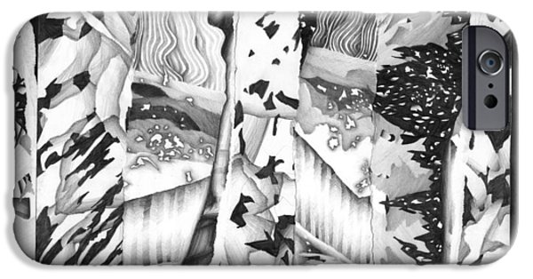Abstract Collage Drawings iPhone Cases - 1987 6b iPhone Case by Bill Ellsworth