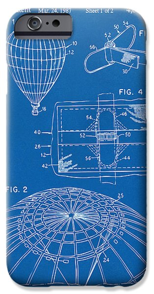 Hot Air Balloon iPhone Cases - 1987 Hot Air Balloon Patent Artwork - Blueprint iPhone Case by Nikki Marie Smith