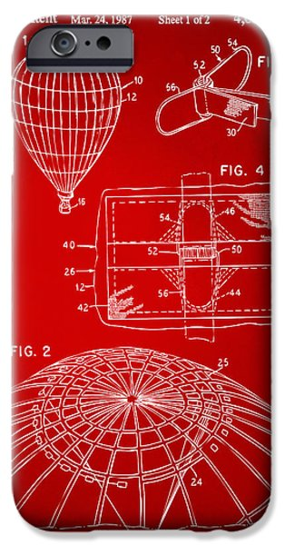 Hot Air Balloon iPhone Cases - 1987 Hot Air Balloon Patent Artwork - Red iPhone Case by Nikki Marie Smith