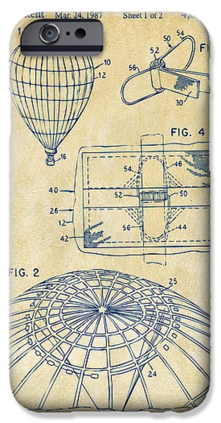 Flight iPhone Cases - 1987 Hot Air Balloon Patent Artwork - Vintage iPhone Case by Nikki Marie Smith