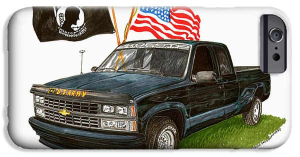American Flag Drawings iPhone Cases - 1988 Chevrolet M I A Tribute iPhone Case by Jack Pumphrey