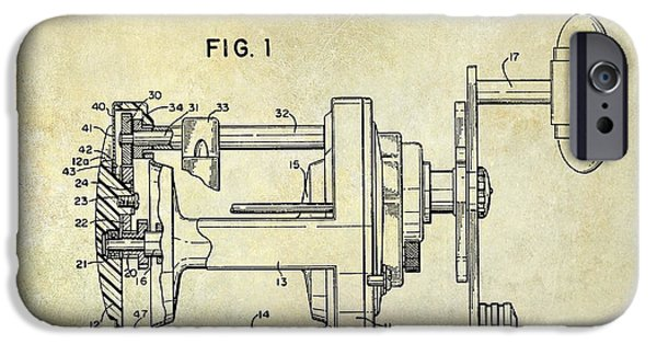 Redfish iPhone Cases - 1988 Penn Fishing Reel Patent Drawing iPhone Case by Jon Neidert