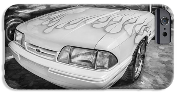 1990 iPhone Cases - 1990 Ford 5 0 Mustang Painted BW   iPhone Case by Rich Franco