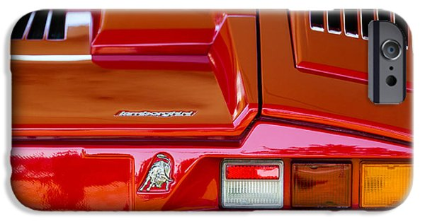 1990 iPhone Cases - 1990 Lamborghini Countach Taillight Emblem iPhone Case by Jill Reger