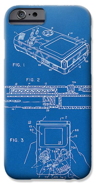 Electronics iPhone Cases - 1993 Nintendo Game Boy Patent Artwork Blueprint iPhone Case by Nikki Marie Smith