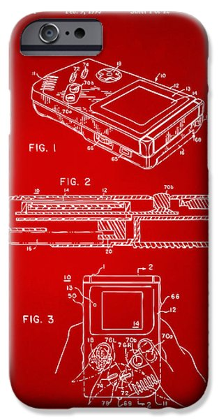 Electronics iPhone Cases - 1993 Nintendo Game Boy Patent Artwork Red iPhone Case by Nikki Marie Smith
