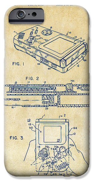 Electronics iPhone Cases - 1993 Nintendo Game Boy Patent Artwork Vintage iPhone Case by Nikki Marie Smith