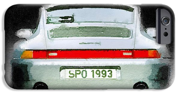 Porsche 911 iPhone Cases - 1993 Porsche 911 Rear Watercolor iPhone Case by Naxart Studio