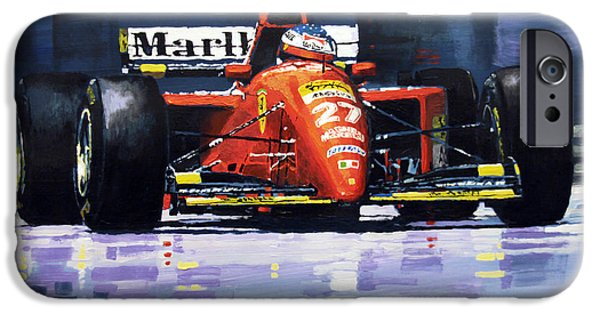Racing iPhone Cases - 1995 Canada GP Ferrari 412T2 J.Alesi #27 Winner  iPhone Case by Yuriy Shevchuk