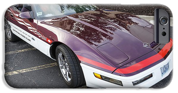 Indy Car iPhone Cases - 1995 Corvette Pace Car2 iPhone Case by Dennis Hedberg