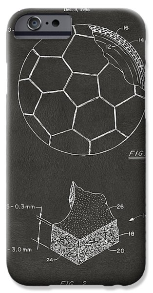 Soccer iPhone Cases - 1996 Soccerball Patent Artwork - Gray iPhone Case by Nikki Marie Smith