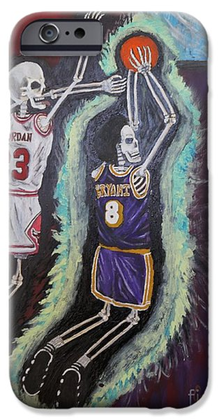 Kobe Paintings iPhone Cases - 1997 Kobe vs Jordan iPhone Case by Visual  Renegade Art