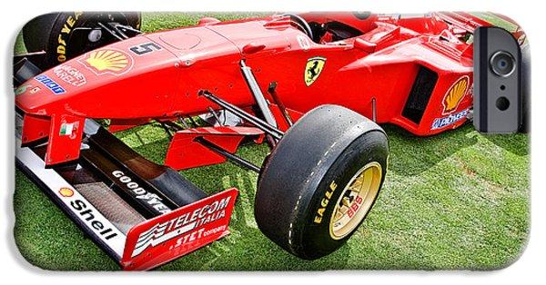 Indy Car iPhone Cases - 1997 Schumacher Ferrari F310 iPhone Case by Jesse Merz