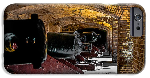 Statue Of Confederate Soldier iPhone Cases - 19th Century Cannon Line iPhone Case by Optical Playground By MP Ray