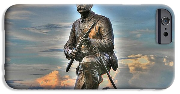 Yankee Division iPhone Cases - 1st PA Cavalry Regiment Cemetery Ridge Near the Copse of Trees Evening 3rd Day of Battle Gettysburg iPhone Case by Michael Mazaika