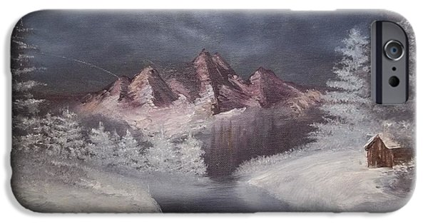 Bob Ross Paintings iPhone Cases - 1st Painting 2-27-1991 iPhone Case by Rhonda Lee