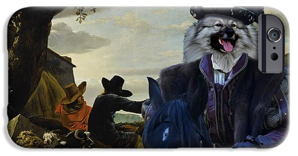 Loup iPhone Cases -  Keeshond Art Canvas Print iPhone Case by Sandra Sij