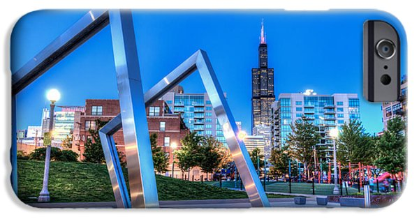 Willis Tower iPhone Cases -  Mary Bartelme Park at Sunset iPhone Case by Anthony Doudt