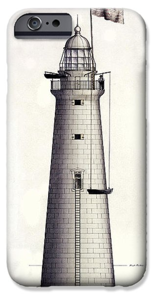 Lighthouse Drawings iPhone Cases - 1852 Minots Ledge Lighthouse iPhone Case by Jon Neidert