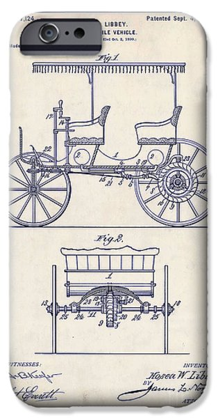 1900 iPhone Cases - 1900 Automobile Patent Drawing iPhone Case by Jon Neidert