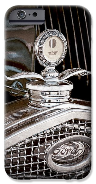 Motometer iPhone Cases - 1931 Model A Ford Deluxe Roadster Hood Ornament iPhone Case by Jill Reger