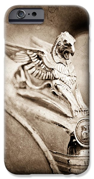 Griffin iPhone Cases - 1932 Essex Griffin Hood Ornament iPhone Case by Jill Reger