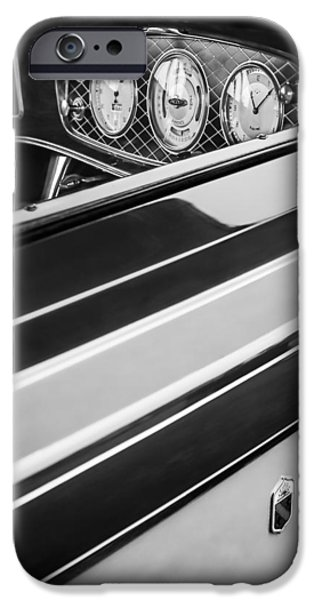 Lincoln iPhone Cases - 1933 Lincoln KB Judkins Coupe Dashboard Instrument Panel iPhone Case by Jill Reger